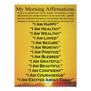 """theIAMstorefront My Morning Affirmations Poster 12"""" x 16"""""""