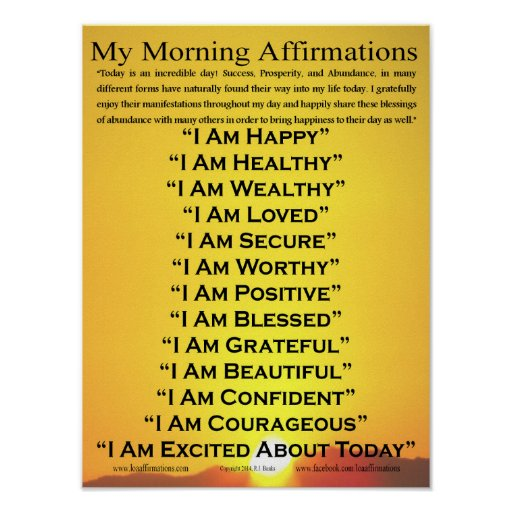 """My Morning Affirmations Poster 12"""" x 16"""""""