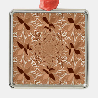 My Morning Coffee Colors Square Metal Christmas Ornament