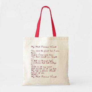 My Most Precious Friend Poem Tote Bag