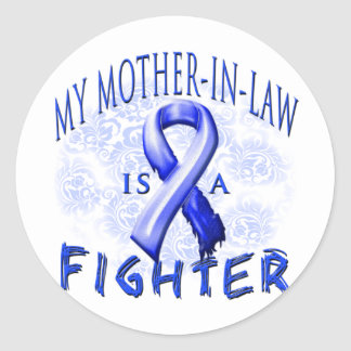 My Mother-In-Law Is A Fighter Blue Classic Round Sticker