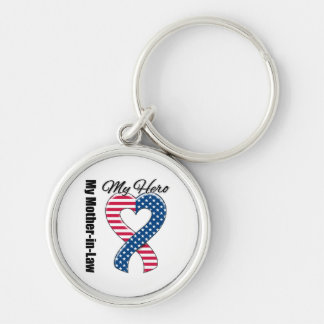 My Mother-in-Law My Hero Patriotic USA Ribbon Keychain