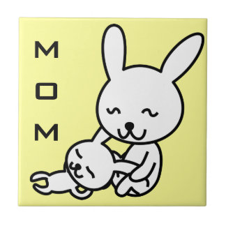 My mother, my friend happy cartoon bunny rabbits tile