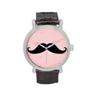 My Moustache Watch Vintage Leather Strap Black