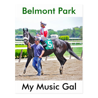 My Music Gal wins at Belmont Park Postcard