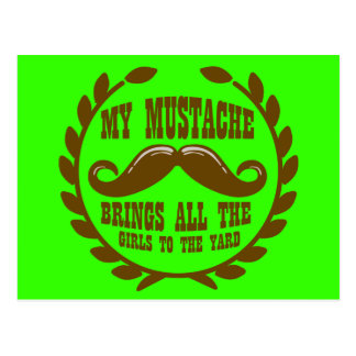 My Mustache Brings all the Girls to the Yard Postcard