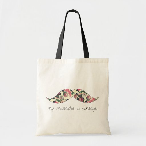 my mustache is vintage tote bag