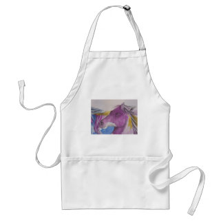 My Mustang Portrait in Pastels Adult Apron