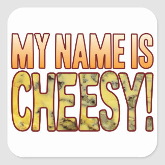 My Name Blue Cheesy Square Sticker