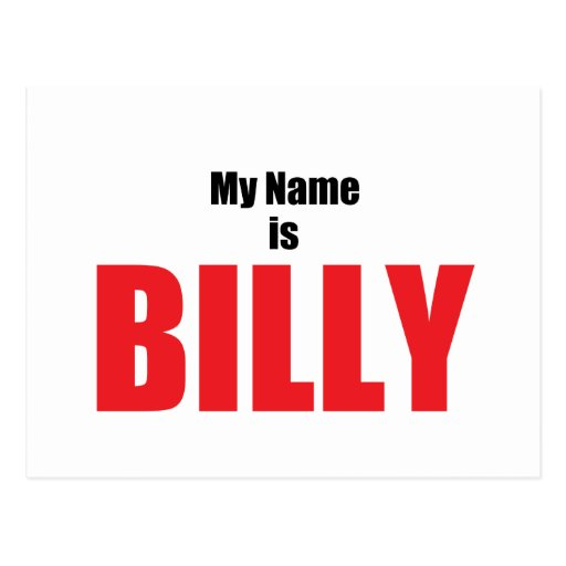 My Name is Billy Postcard