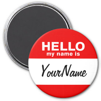 My Name Is Blank Custom Nametag Red Magnet