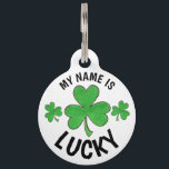 "My Name is Lucky Personalized Green Shamrock Pet Name Tag<br><div class=""desc"">Dog collar features an original marker illustration of a LUCKY green shamrock clover! This design is also available on other products for dogs and cats! Lots of additional illustrated pet products are also available. Don&#39;t see exactly what you&#39;re looking for? Contact Rebecca to have a product customized just for you!...</div>"