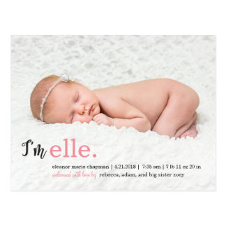 MY NAME Modern Birth Announcement Postcard