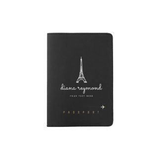 my name with the Eiffel Tower, Paris black Passport Holder