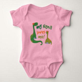 My Nana Loves Me Dinosaur Baby Bodysuit