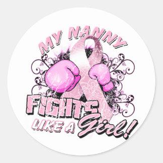 My Nanny Fights Like A Girl Classic Round Sticker