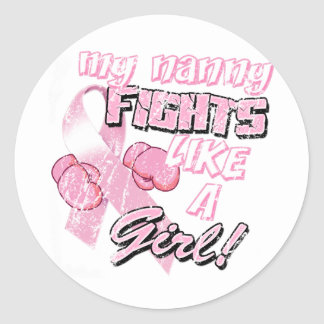 My Nanny Fights Like A Girl Distressed Classic Round Sticker