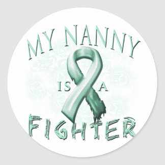 My Nanny is a Fighter Teal Classic Round Sticker
