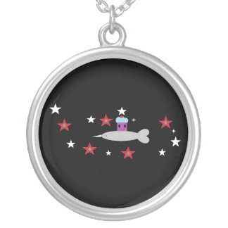 My Narwhal & Space cupcake Silver Plated Necklace