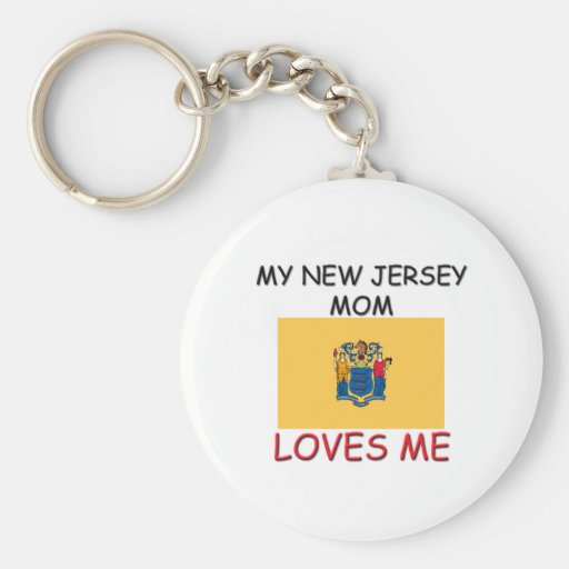 My New Jersey Mom Loves Me Basic Round Button Keychain
