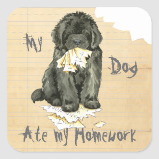 My Newfoundland Ate My Homework Square Sticker