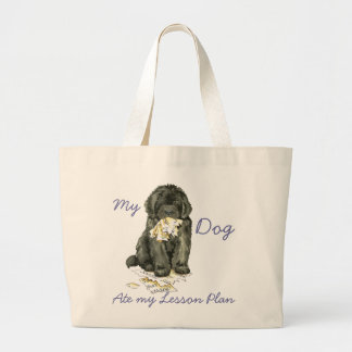 My Newfoundland Ate my Lesson Plan Large Tote Bag