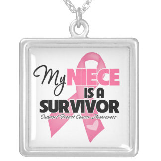 My Niece is a Survivor - Breast Cancer Square Pendant Necklace