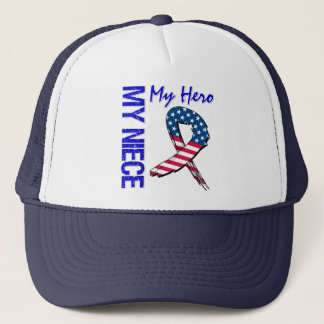 My Niece My Hero Patriotic Grunge Ribbon Trucker Hat