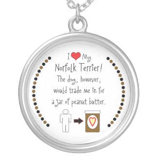 My Norfolk Terrier Loves Peanut Butter Round Pendant Necklace