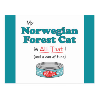 My Norwegian Forest Cat is All That! Funny Kitty Postcard