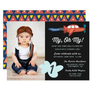 My Oh My   Airplane Photo Birthday Party Invite