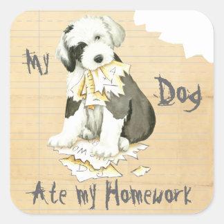 My Old English Sheepdog Ate My Homework Square Sticker