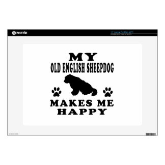 My Old English Sheepdog Makes Me Happy Decals For Laptops