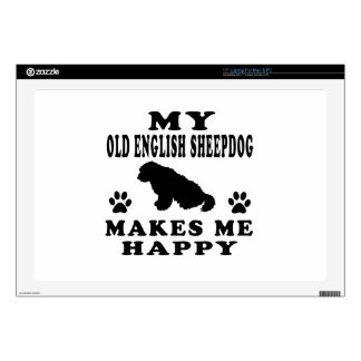 My Old English Sheepdog Makes Me Happy Decal For Laptop