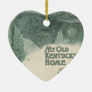 My Old Kentucky Home Double-Sided Heart Ceramic Christmas Ornament