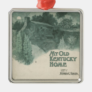 My Old Kentucky Home Square Metal Christmas Ornament