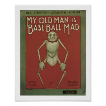 My old man Baseball mad Music Cover Art Poster