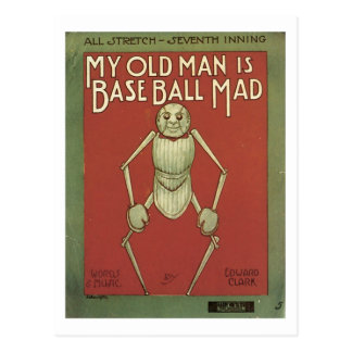 My Old Man Is Baseball Mad Vintage Songbook Cover Postcards