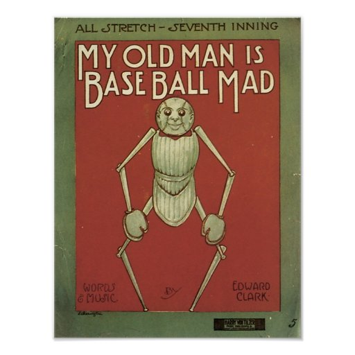 My Old Man Is Baseball Mad Vintage Songbook Cover Print
