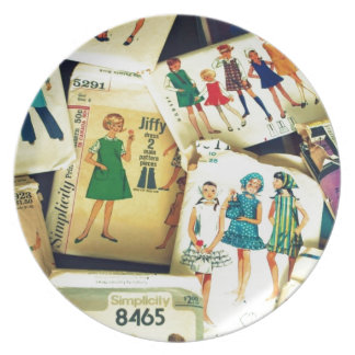my old sewing patterns party plates