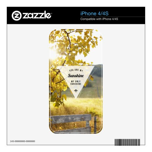 My Only Sunshine Inspirational iPhone 4/4S Skin Skins For iPhone 4