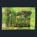 """My Oregon Dish Towel<br><div class=""""desc"""">The original art work was hand drawn within the shape of the State of Oregon,  background was done with alcohol inks.  The towel is totally customizable !  If you want to change the background color click on &#39;edit&#39; and make it the color of your choosing...  or add text!</div>"""