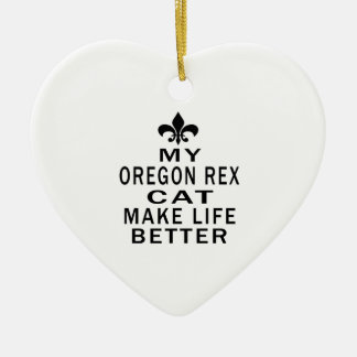 My Oregon Rex Cat Make Life Better Double-Sided Heart Ceramic Christmas Ornament