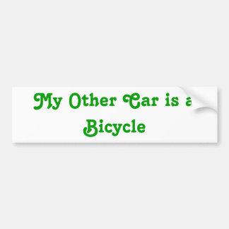 My Other Car is a Bicycle Bumper Sticker Car Bumper Sticker