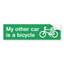 My Other Car Is a Bicycle Bumper Sticker (Green)
