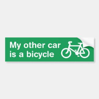 My Other Car Is a Bicycle Bumper Sticker (Green) Car Bumper Sticker