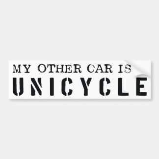 My Other Car is a Unicycle Car Bumper Sticker