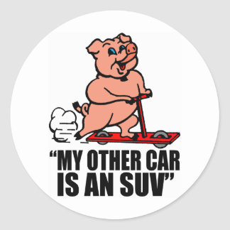 """""""My Other Car Is an SUV"""" Classic Round Sticker"""