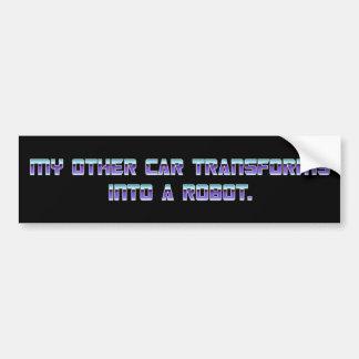 MY OTHER CAR TRANSFORMS INTO A ROBOT - Purple Font Bumper Sticker