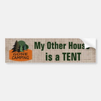 My Other House is a Tent Funny Camping Car Bumper Sticker